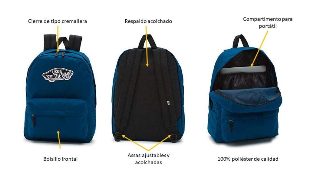 Caracteríticas de las mochilas Vans azules